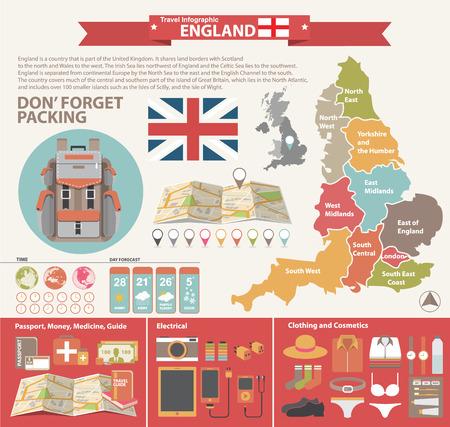 england: England Travel Concept. Infographic Vector