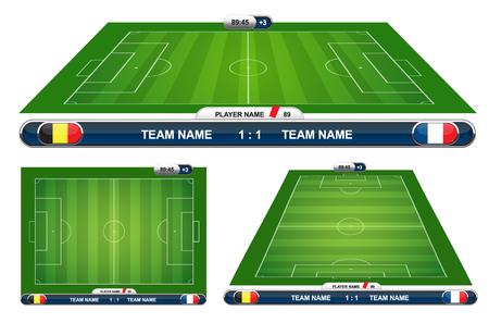 cancha de futbol: fútbol campo de juego con elementos de estrategia. Ilustración del vector. Vectores