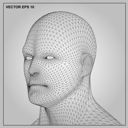 human head: Vector concept or conceptual 3D wireframe human male or man head isolated on gray background