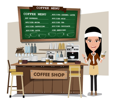 barista: coffee bar and barista. Flat style illustration. EPS 10 vector. Illustration
