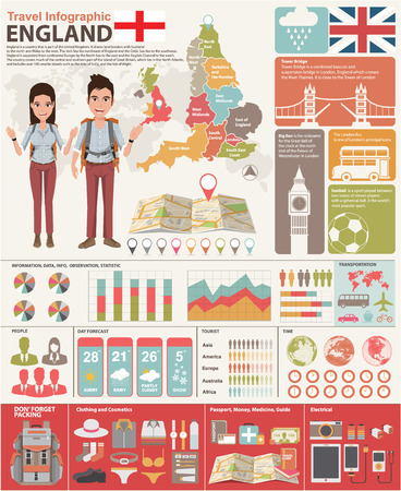 England Travel Concept. Infographic Vector