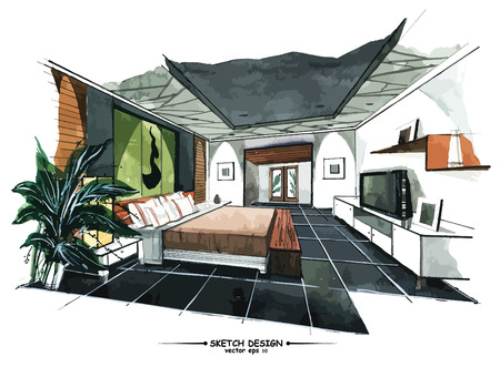 sketch: Vector interior sketch design. Watercolor sketching idea on white paper background