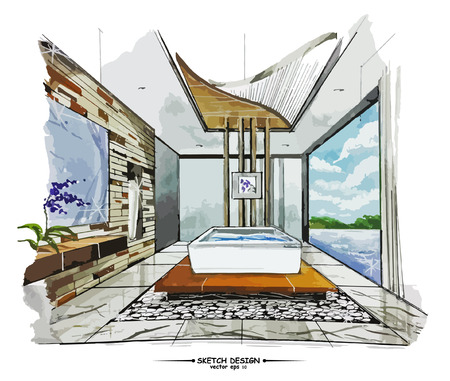 modern house sketch: Vector interior sketch design. Watercolor sketching idea on white paper background.