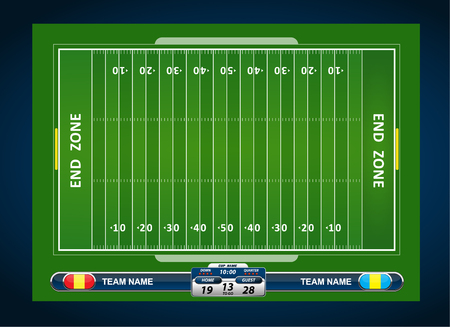 sideline: American Football field with set of infographic elements
