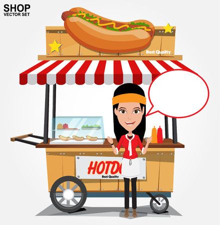 mustard: hot dog street cart with seller.vector Illustration