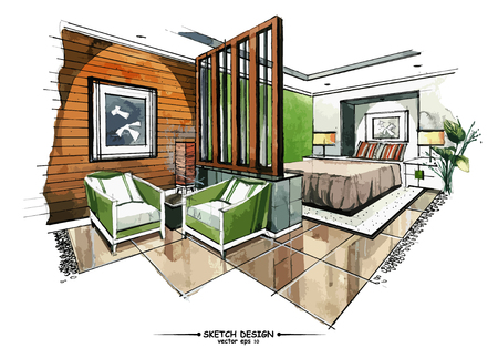 living rooms: Vector interior sketch design. Watercolor sketching idea on white paper background