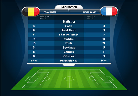 soccer field: vector info graphic football field statistics