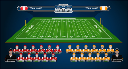 American Football field and Player Lineup with set of info-graphic elements.