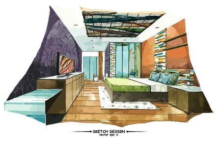 idea sketch: Vector interior sketch design. Watercolor sketching idea on white paper background.