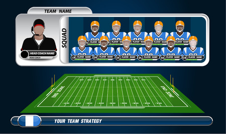 defensive: American Football field and Player Lineup with set of infographic elements Illustration