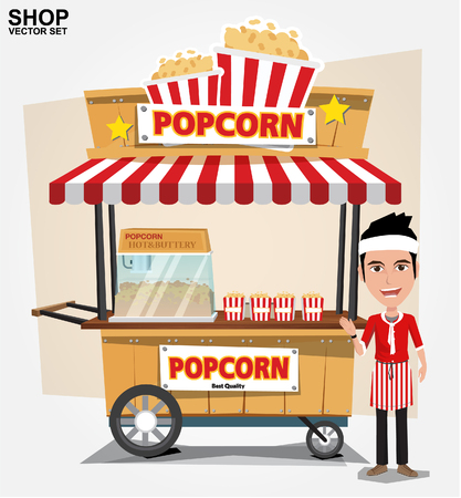 eating popcorn: popcorn cart and seller with bubble speech - vector illustration