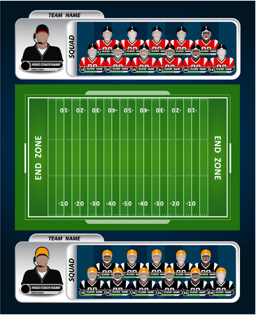 american football stadium: American Football field and Player Lineup with strategy elements Illustration