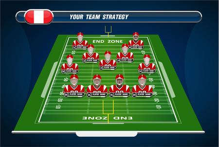 uniforme de futbol: Campo de fútbol americano y Formación Player con elementos de estrategia Vectores