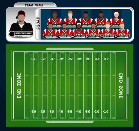 American Football field and Player Lineup with strategy elements  イラスト・ベクター素材
