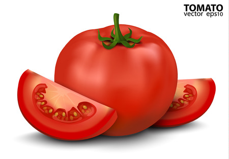 tomatoes: Vector illustration of big ripe red fresh Tomato and slices isolated on white background Illustration