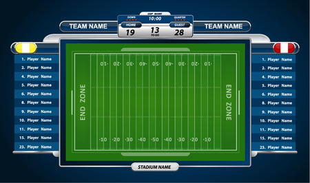 football field: American Football field and Player Lineup with strategy elements Illustration