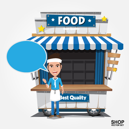 eps vector art: Fast food trolley on a colored background. Illustration