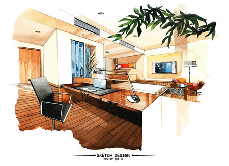 wood furniture: Vector interior sketch design. Watercolor sketching idea on white paper background.