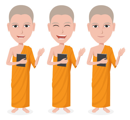 chinese ethnicity: Cartoon Thai Monk vector