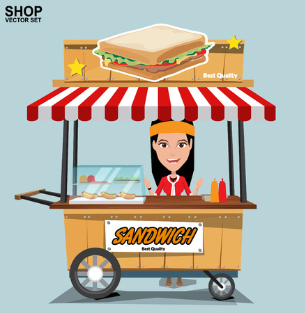 food shop: Fast food trolley with seller. vector on a colored background.
