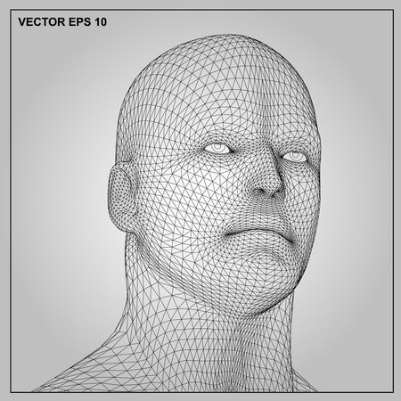 man head: Vector concept or conceptual 3D wireframe human male or man head isolated on gray background
