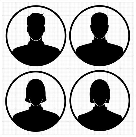 People profile silhouettes. vector illustration Vettoriali