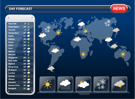cloudy weather: Weather forecast widgets template with World map. Vector illustration. Illustration