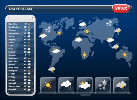 meteo: Widgets Previsioni meteo modello con mappa del mondo. Illustrazione vettoriale.