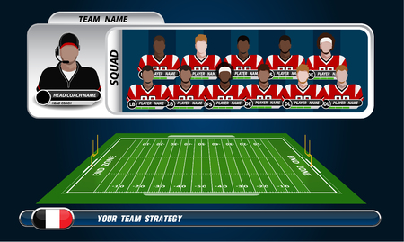 American Football field and Player Lineup with strategy elements 矢量图像