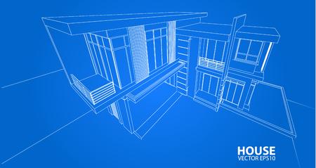 background house: Perspective 3D render of building wireframe - Vector illustration
