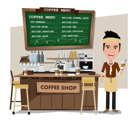 counter service: coffee bar and barista. Flat style illustration. EPS 10 vector. Illustration