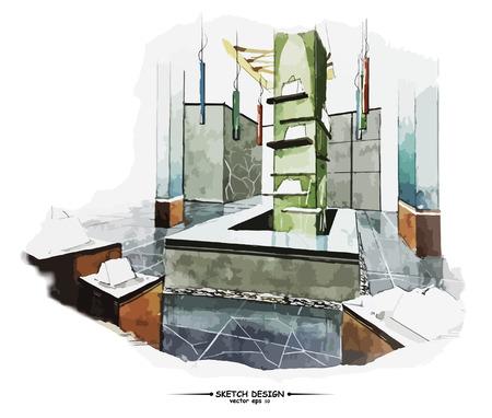 white interior: Vector interior sketch design. Watercolor sketching idea on white paper background.