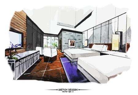 interior design: Vector interior sketch design. Watercolor sketching idea on white paper background.