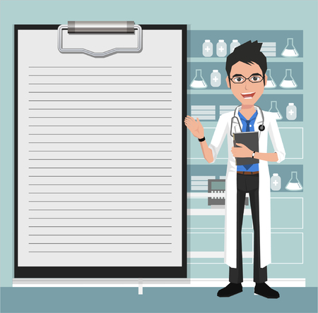 male face: Doctor showing blank clipboard sign for presentation - character design vector illustration Illustration