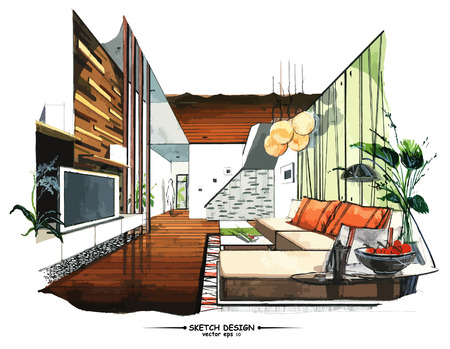 modern house: Vector interior sketch design. Watercolor sketching idea on white paper background.