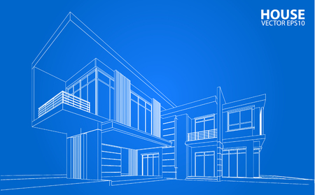 house plan: Perspective 3D render of building wireframe - Vector illustration