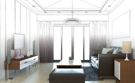 drawing room: sketch design of living room ,3dwire frame render Stock Photo