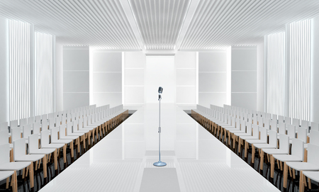 fashion week: 3D illustration of fashion empty runway with microphone. Stock Photo