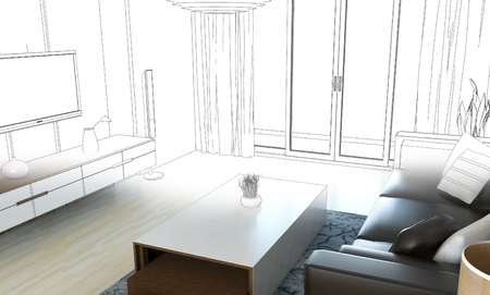 house illustration: sketch design of living room, 3dwire frame render Stock Photo