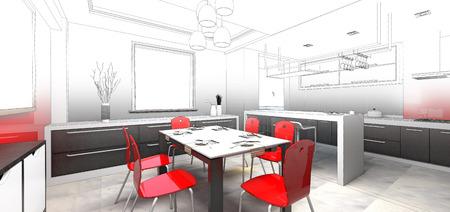 sketch design of dining, 3dwireframe render
