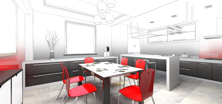 sketch design of dining, 3dwireframe render