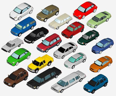 different: Set of Various Isolated 3d Cars