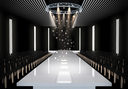 3D illustration of fashion empty runway. before a fashion show Imagens