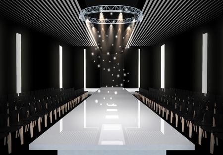 moda: Ilustração 3D de moda pista vazia. antes de um desfile de moda