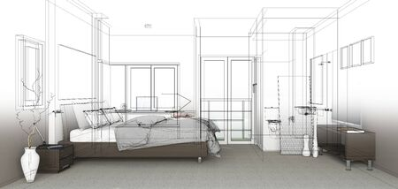 construction plan: sketch design of bedroom ,3dwireframe render