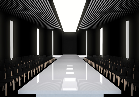 fashion design: 3D illustration of fashion empty runway. before a fashion show Stock Photo