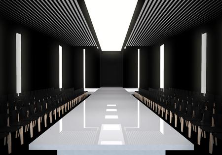 moda: 3D ilustracji mody pusty pas startowy. przed pokazie mody