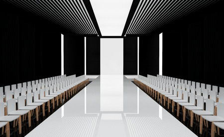 nobody: 3D illustration of fashion empty runway. before a fashion show Stock Photo