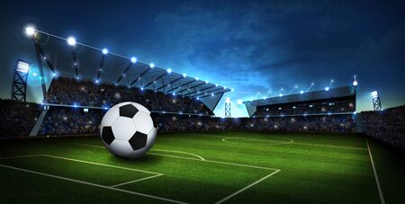 campo calcio: lights at stadium with Soccer ball. Sport background. 3d render