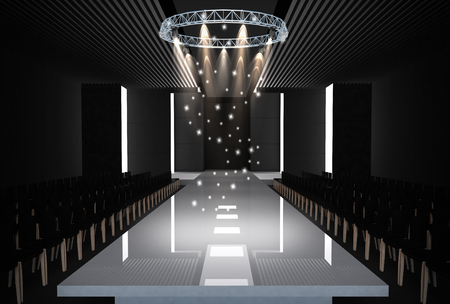 fashion show: 3D illustration of fashion empty runway. before a fashion show Stock Photo